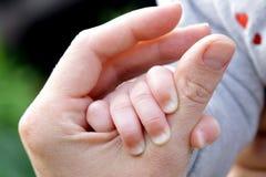 6 mesi del bambino della mano della madre della tenuta divertente del padre Immagine Stock Libera da Diritti