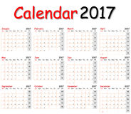 12 mesi del calendario 2017 Fotografia Stock