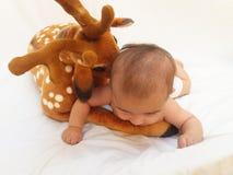 4 mesi del neonato che gioca con il giocattolo molle caro ed il pulcino Fotografia Stock Libera da Diritti
