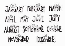 Mesi di anno del calendario di tipografia dell'iscrizione Immagini Stock