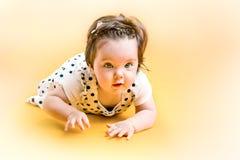 8 mesi felici sorridenti della neonata Fotografie Stock