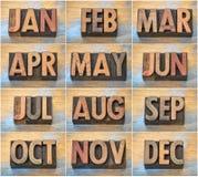 12 mesi nel tipo d'annata di legno dello scritto tipografico Immagini Stock