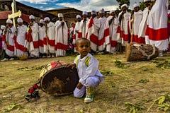Meskel庆祝,拉利贝拉,埃塞俄比亚 图库摄影