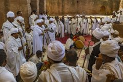 Meskel Celebration, Lalibela, Ethiopia. Ethiopia. Lalibela. Bet Maryam church, September 26th 2016. Priests before starting the Meskal celebration religious royalty free stock image