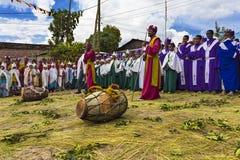 Meskel Celebration, Lalibela, Ethiopia. Ethiopia. Lalibela. The Meskel celebration, September 26th 2016. Priests, deacons, children in their ceremonial robes stock images