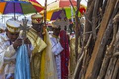 Meskel Celebration, Lalibela, Ethiopia. Ethiopia. Lalibela. The Meskel celebration, September 26th 2016. Priests in their ceremonial robes pray in front of the stock photos