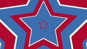 Mesmeric hypnotic blauwe rode Amerikaanse van de van de achtergrond stervorm blije uitstekende 4k de voorraad videolengte animati stock videobeelden