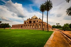 A mesmerized side view of Humayun`s Tomb Stock Photos