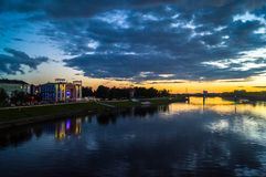 Mesmerizing blazing sunset over the Volga river. City of Tver, Russia. Boundless expanse. Mesmerizing blazing sunset over the mirror glossy surface of the Volga Royalty Free Stock Photos