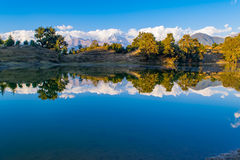 Mesmerizing reflection of Garhwal Himalayas in  Deoria Tal or Lake. Stock Photography