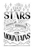 Mesmo as estrelas brilham mais brilhante nas montanhas ilustração stock