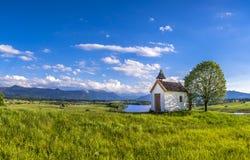 Mesnerhaus Chapel at Lake Riegsee, Bavaria Germany Royalty Free Stock Photo