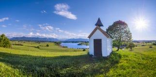 Mesnerhaus Chapel at Lake Riegsee, Bavaria Germany Royalty Free Stock Photos