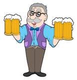 Mesonero con las cervezas Foto de archivo libre de regalías