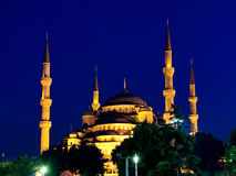 Mesquita azul na noite Imagens de Stock Royalty Free
