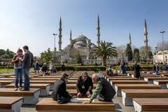 A mesquita azul no distrito de Sultanahmet de Istambul em Turquia Foto de Stock Royalty Free