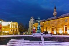 Mesquita de Dzhumaya e rua central da cidade de Plovdiv, Bulgária Fotografia de Stock