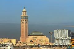A mesquita de Hasan em Casablanca, Marrocos Imagem de Stock