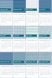 A mesquita e o azul da definição coloriram o calendário geométrico 2016 dos testes padrões Imagens de Stock Royalty Free
