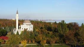 Mesquita em um parque público Autumn Time Tiro aéreo vídeos de arquivo