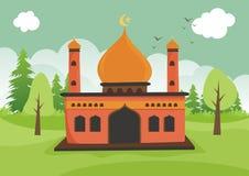 Mesquita islâmica dos desenhos animados com paisagem ilustração royalty free