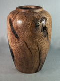 Mesquite wooden vase hand turned on wood lathe for art Stock Photography