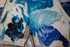Mess of blue paints Stock Image