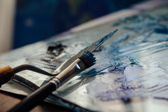 Mess of blue paints Stock Photography