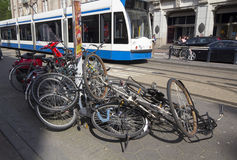 Mess of cycles Amsterdam Stock Photos