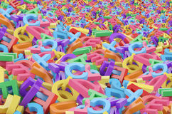 A mess from 3D colourful alphabetic characters. Stock Photos