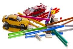 Mess degli indicatori delle automobili del giocattolo Fotografie Stock