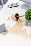 Mess on desk at workplace Royalty Free Stock Photos