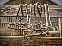 Mess of Hooks. Hay hooks hanging on a fence by a barn Royalty Free Stock Photos