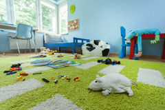 Mess in kids room. Horizontal view of mess in kids room Royalty Free Stock Image