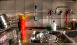 Mess in kitchen. Mess  in a kitchen before washing-up Royalty Free Stock Images