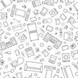 Mess of outline icons house appliance seamless Royalty Free Stock Photography
