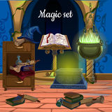 Mess in the room for magic. Objects for witchcraft Royalty Free Stock Photo