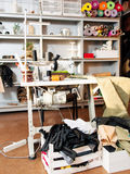 Mess in sewing workshop. Stock Image