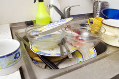 Mess in a sink Stock Image