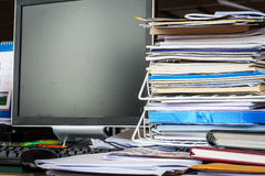 A mess on  table in office Royalty Free Stock Photo
