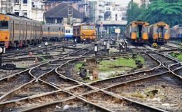 Mess up of crossing railway track junction Royalty Free Stock Photography