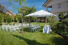 Messa a punto all'aperto per nozze Fotografia Stock