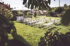 Messa a punto all'aperto per nozze Fotografie Stock Libere da Diritti