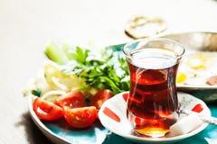 Messa a punto con la prima colazione turca tradizionale Fotografia Stock Libera da Diritti