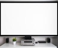 Messa a punto concentrare di multimedia domestiche nella sala Immagini Stock