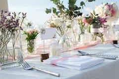 Messa a punto della tavola di nozze Immagine Stock