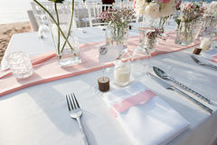 Messa a punto della tavola di nozze Fotografia Stock Libera da Diritti