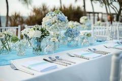 Messa a punto della tavola di nozze Fotografia Stock