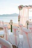 Messa a punto di nozze di spiaggia Immagine Stock