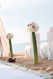 Messa a punto di nozze di spiaggia Fotografia Stock